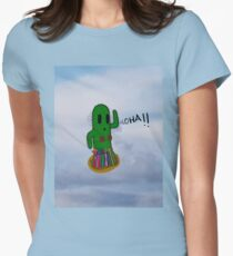 Little Cute Flying Hawaiian Cactus Women's Fitted T-Shirt