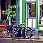 Owego NY - Bicycle Parked on Rainy Street by Susan Savad