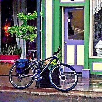 Owego NY - Bicycle Parked on Rainy Street by SudaP0408