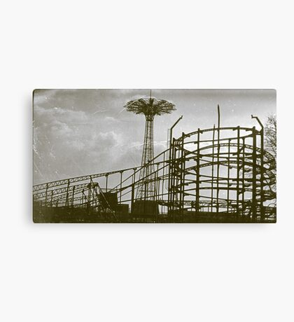 Coney Island Thunderbolt Ride and Parachute Jump Canvas Print