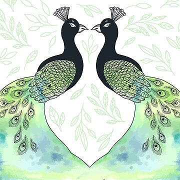2 Peacocks Facing Each Other by CreatedProto