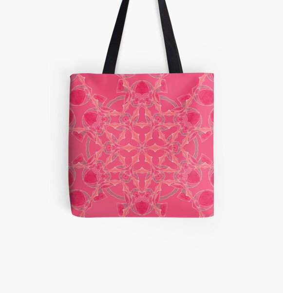 Red Over Twist Fall Into Winter Design Collection of Green Bee Mee All Over Print Tote Bag