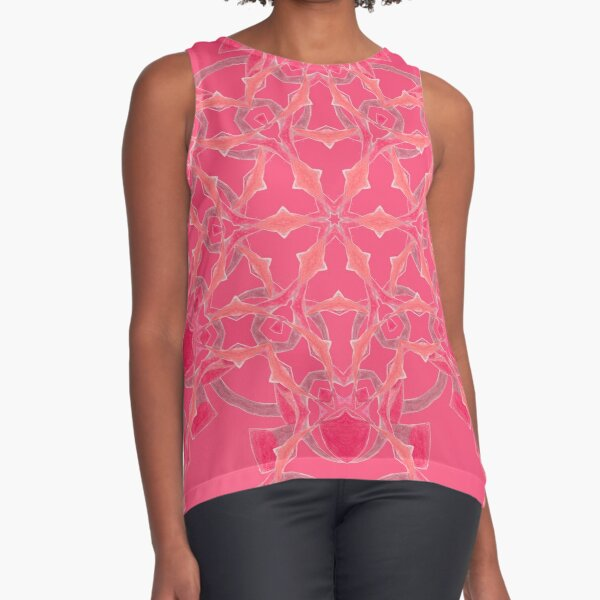 Red Over Twist Fall Into Winter Design Collection of Green Bee Mee Sleeveless Top