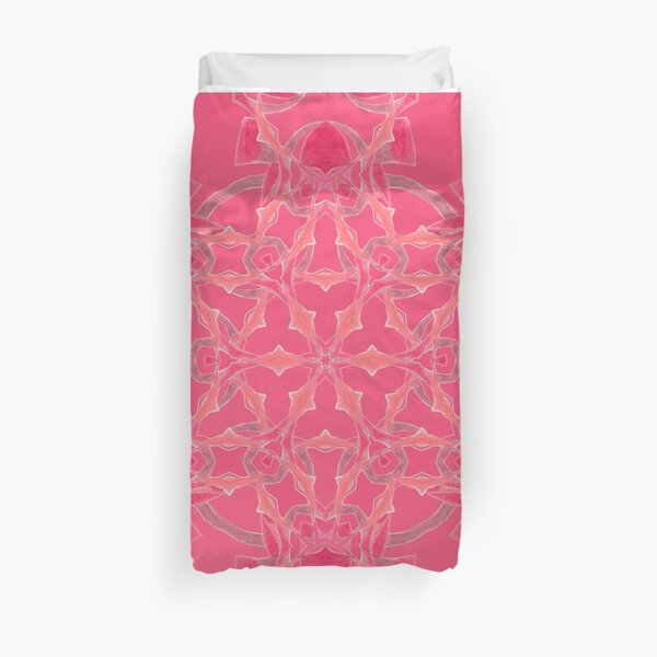 Red Over Twist Fall Into Winter Design Collection of Green Bee Mee Duvet Cover