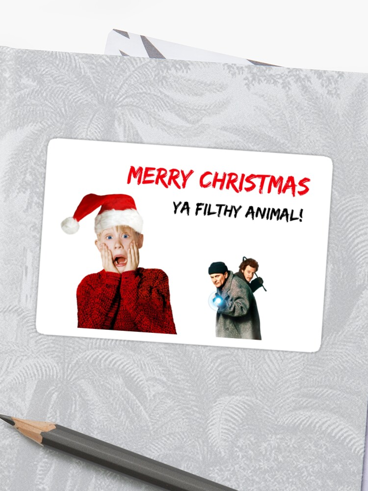 Merry Christmas Ya Filthy Animal Card.Home Alone Christmas Card Xmas Card Funny Card Quotes Gifts Presents Merry Christmas Ya Filthy Animal Meme Greeting Cards Party Invitations