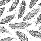 Boho Feathers Pattern by Anastasia Shemetova