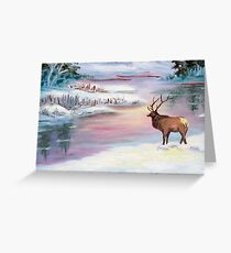 Moose by the water in the Mountains Greeting Card