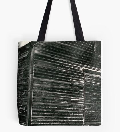 Barn with snow on it Tote Bag