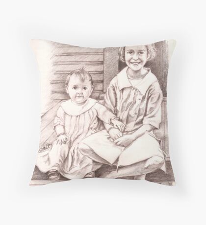 On the Back Stoop (My grandmother & her baby sis) Throw Pillow