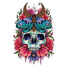 Neo Traditional Skull and Moth design by lornalaine