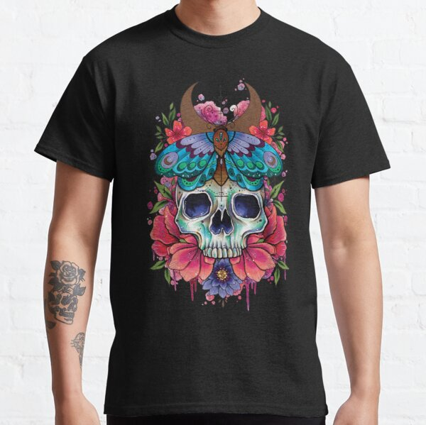 Neo Traditional Skull and Moth watercolor design Classic T-Shirt