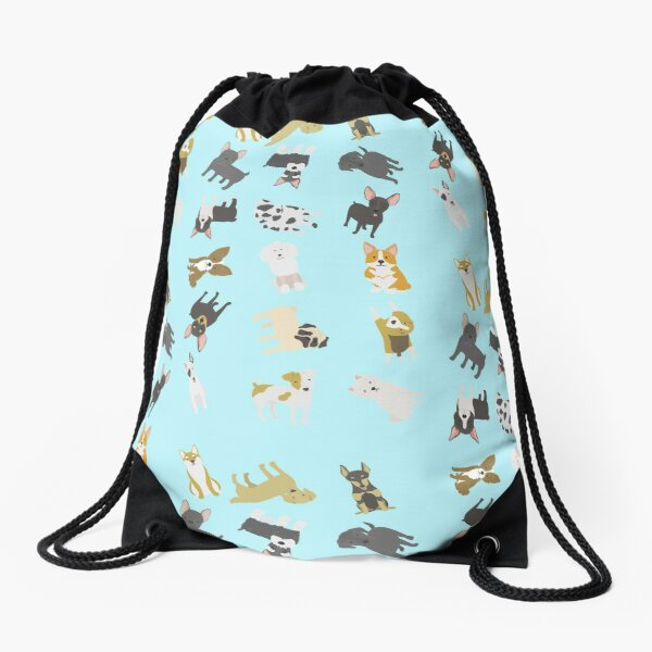 puppies illustration Drawstring Bag