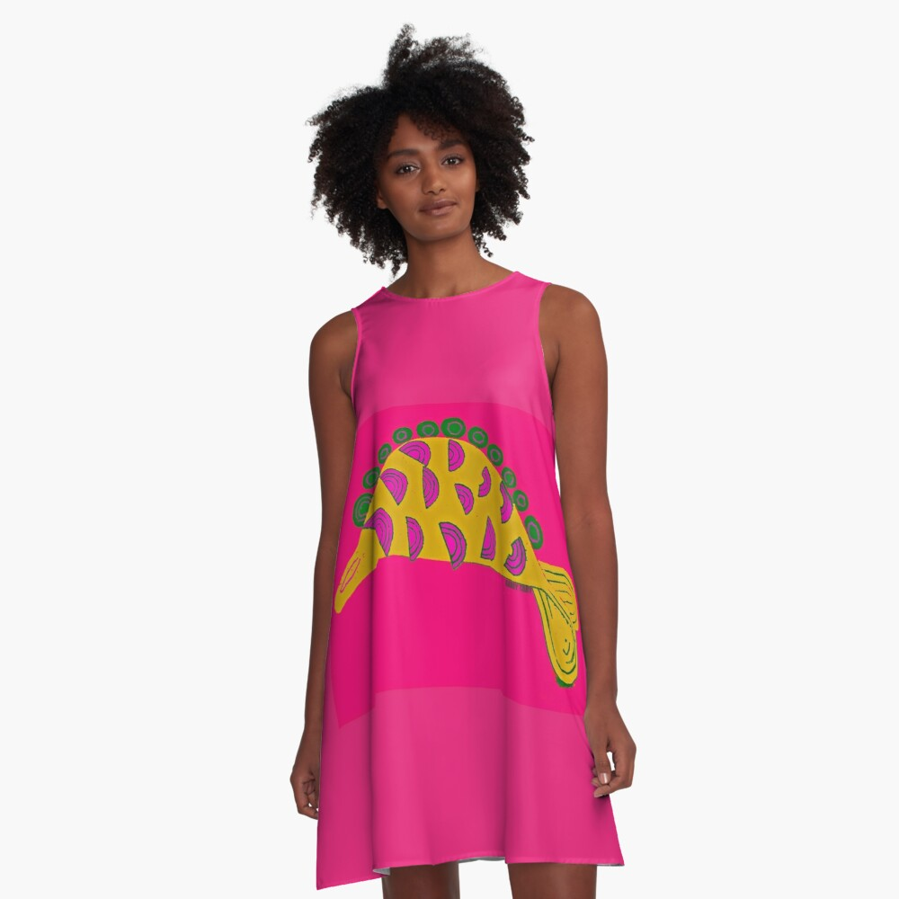 AFRICAN FISH A-Line Dress Front