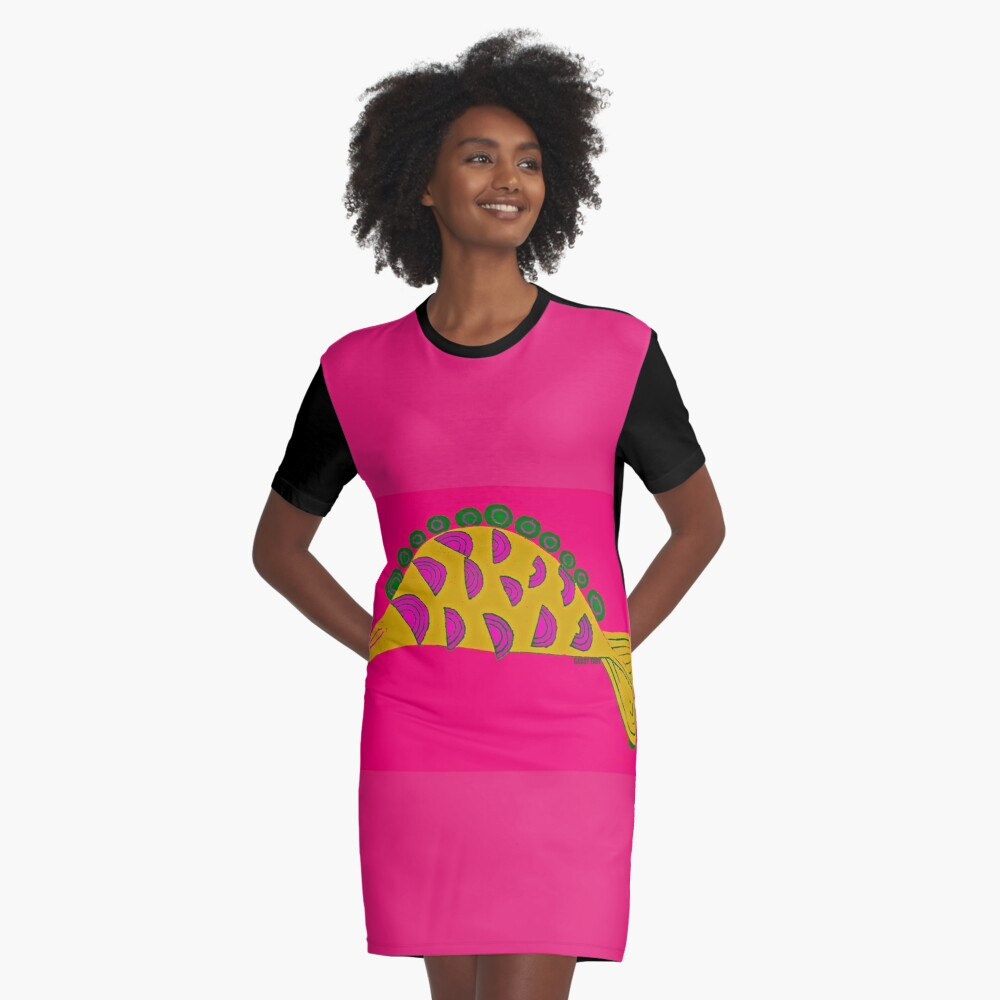AFRICAN FISH Graphic T-Shirt Dress Front