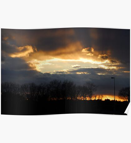 Rays at Sunset Poster