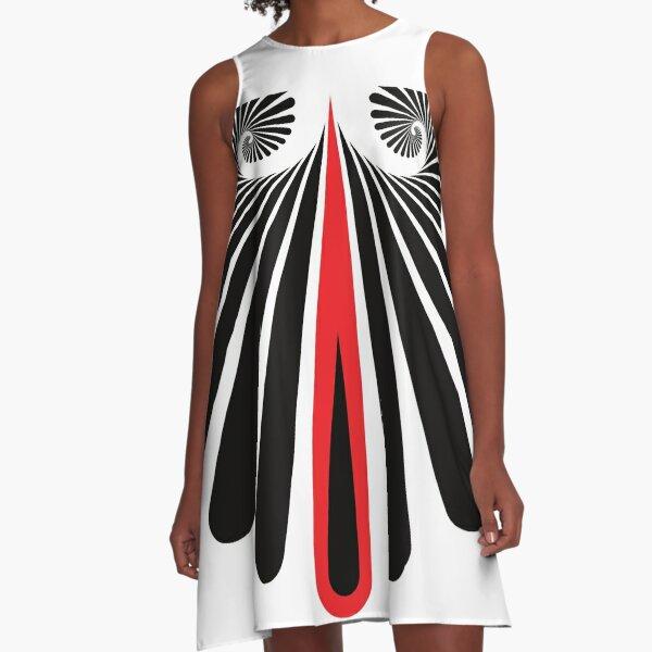 Muster Spirale Schwarz Rot A-Linien Kleid