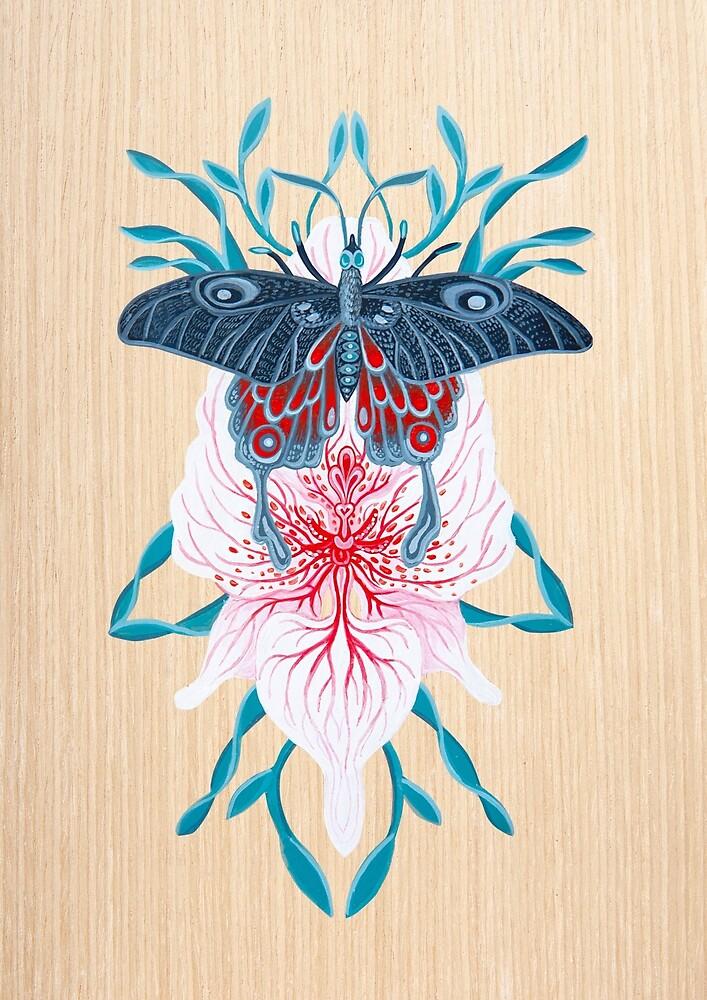 «Pintura de tatuaje de orquídea mariposa en madera» de Ruta Dumalakaite