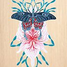 Butterfly Orchid Tattoo painting on wood by Ruta Dumalakaite