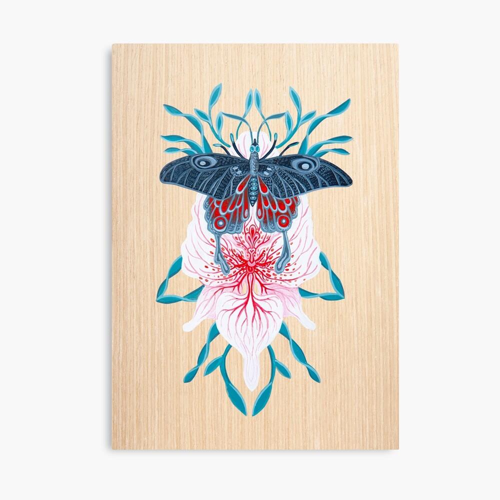 Pintura de tatuaje de orquídea mariposa en madera Lienzo