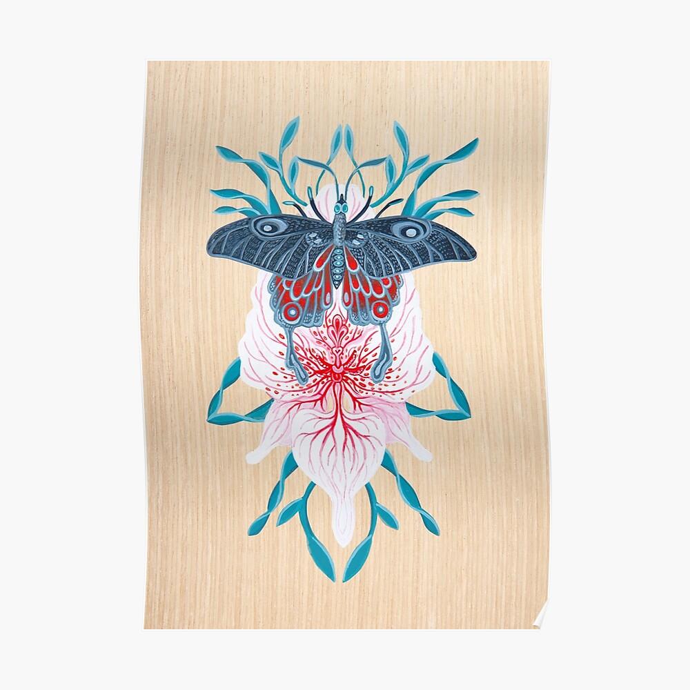 Pintura de tatuaje de orquídea mariposa en madera Póster