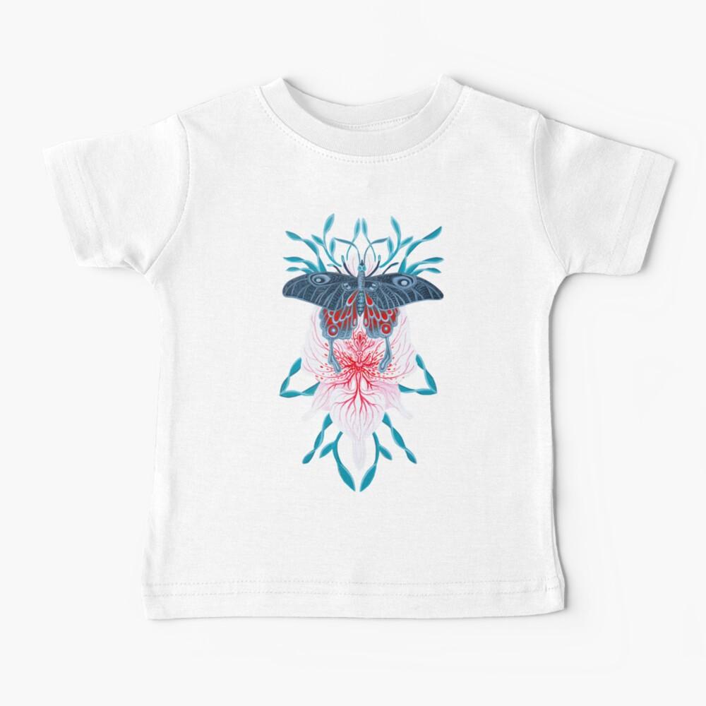 Pintura de tatuaje de orquídea mariposa en madera Camiseta para bebés