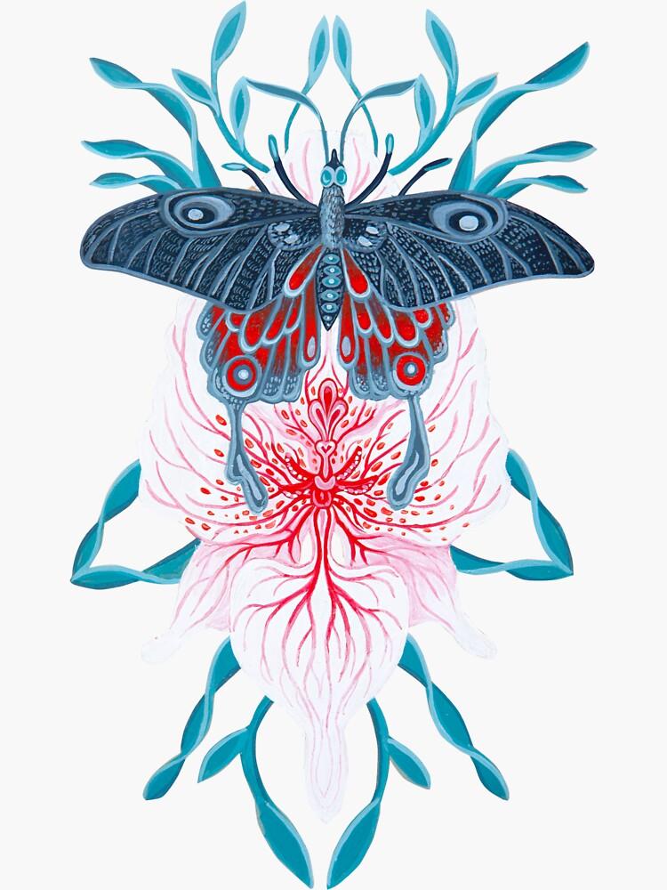 Pintura de tatuaje de orquídea mariposa en madera de Ruta