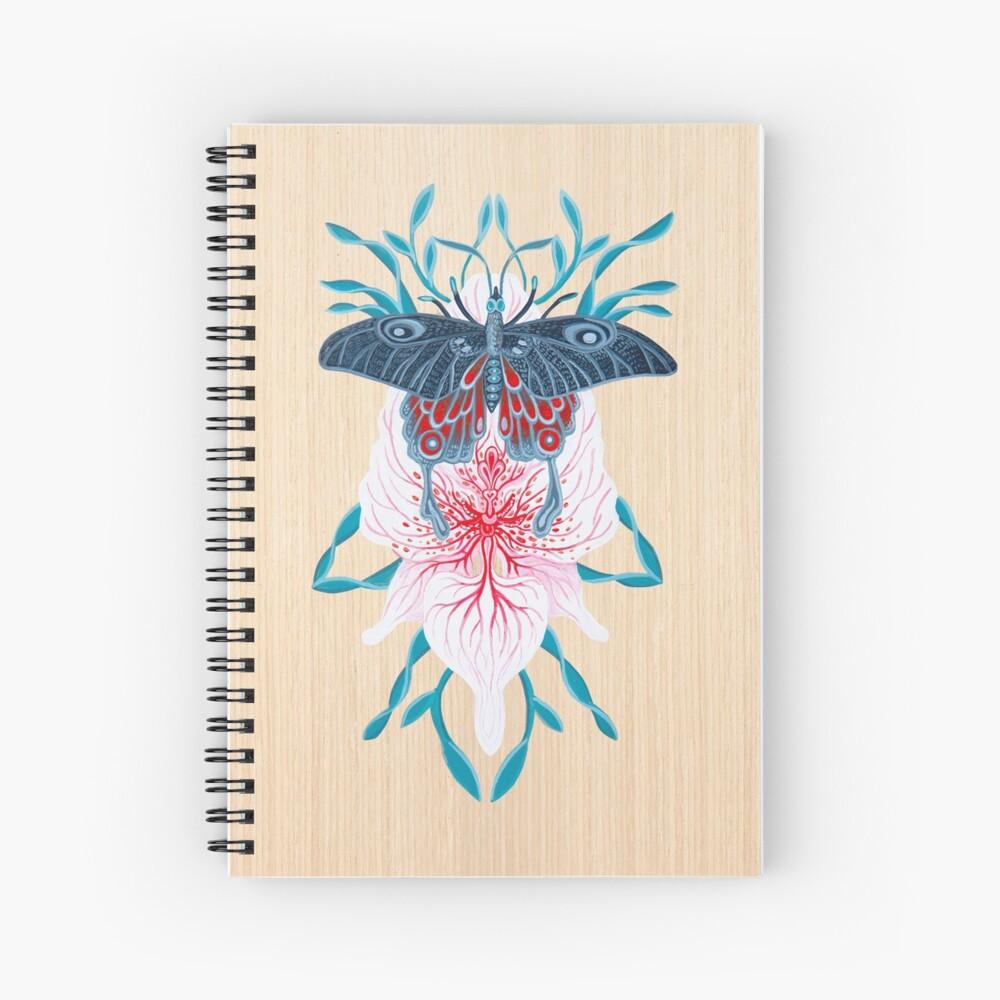Pintura de tatuaje de orquídea mariposa en madera Cuaderno de espiral