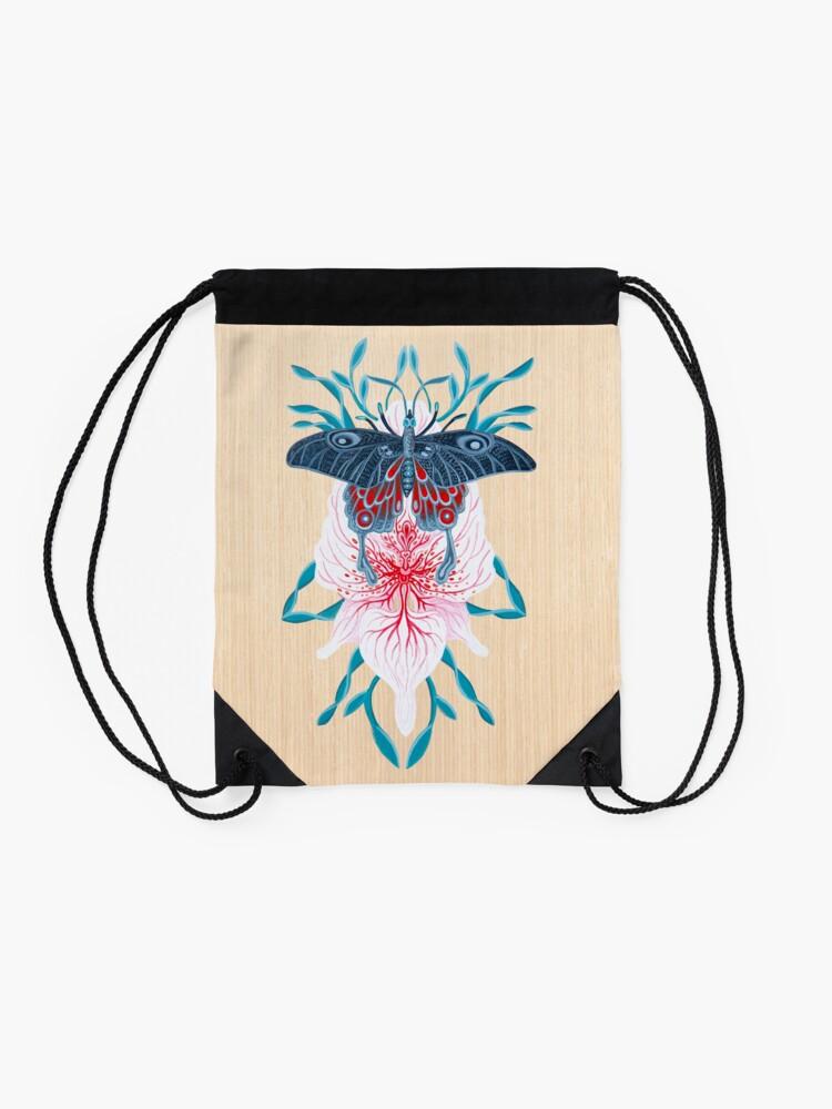 Vista alternativa de Mochila saco Pintura de tatuaje de orquídea mariposa en madera