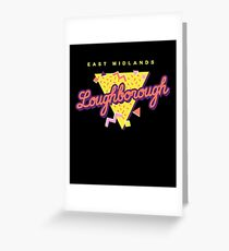 Funny 80s Retro Sunset 'Loughborough' East Midlands Greeting Card
