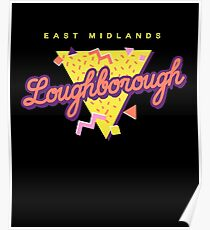 Funny 80s Retro Sunset 'Loughborough' East Midlands Poster