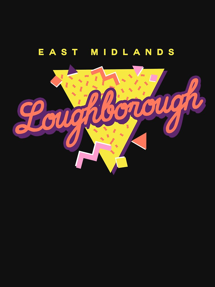 Funny 80s Retro Sunset 'Loughborough' East Midlands by dinosareforever