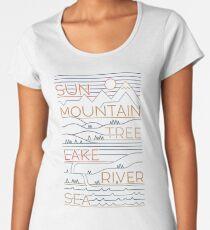 Camiseta premium para mujer Sol, montaña, arbol