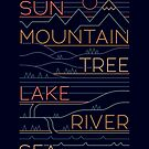 Sun, Mountain, Tree by thepapercrane
