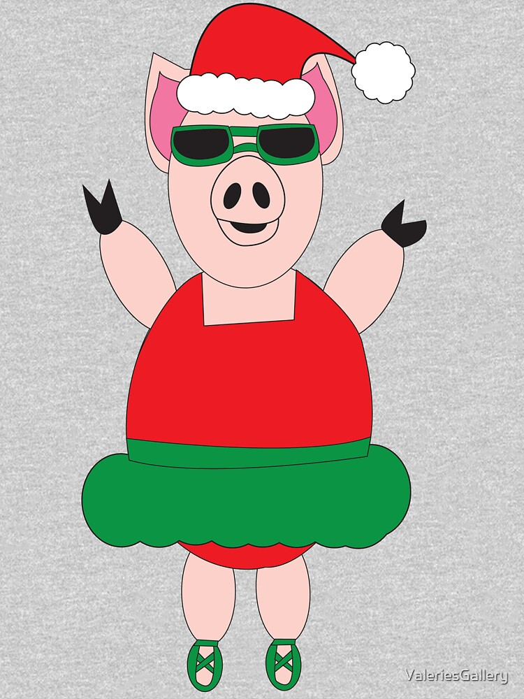 Christmas Pig Ballet Cute Funny by ValeriesGallery