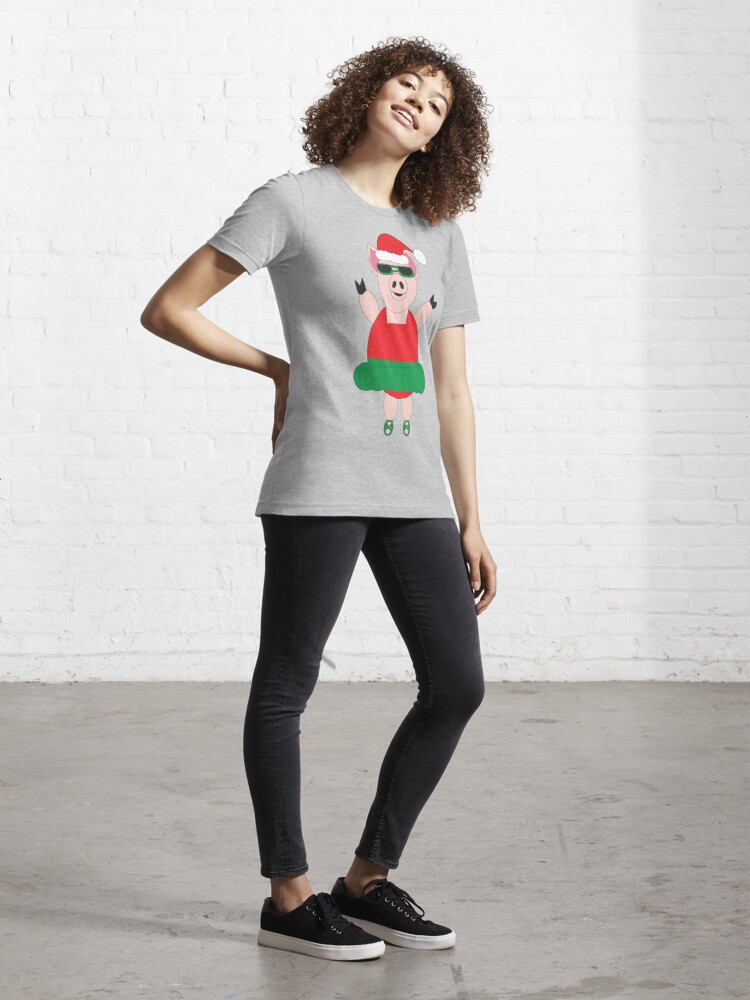 Alternate view of Christmas Pig Ballet Cute Funny Essential T-Shirt