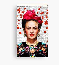 Frida Kahlo blüht Papier Leinwanddruck