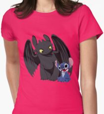 Stitch and Toothless Womens Fitted T-Shirt