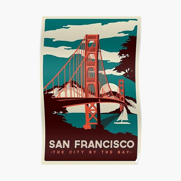 Affiche rétro du pont du Golden Gate à San Francisco Poster