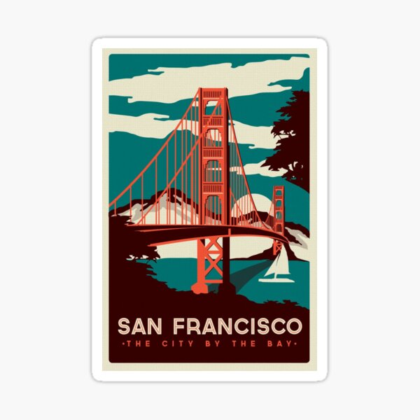 Affiche rétro du pont du Golden Gate à San Francisco Sticker