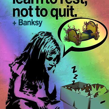 Banksy Inspired Rainbow Girl With Cat Graffiti by Loredan