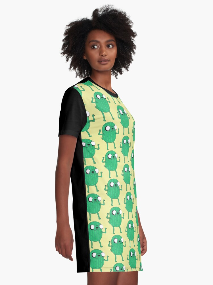 Alternate view of Jake the Dog from AdventureTime with Halloween Cactus costume Graphic T-Shirt Dress