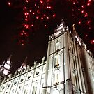 The Salt Lake Temple at CHRISTmas looking up by Jerald Simon by jeraldsimon
