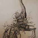 Landscape Study in Pencil.  Last tree standing. by Lozzar Flowers & Art