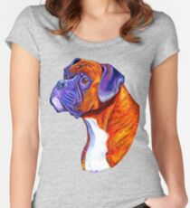Colorful Brindle Boxer Dog Women's Fitted Scoop T-Shirt