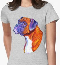 Colorful Brindle Boxer Dog Women's Fitted T-Shirt