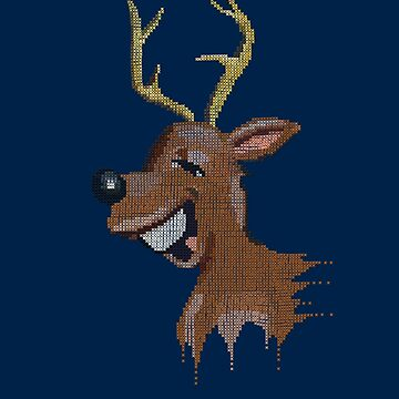 REINDEER - Funny Fake Embroidery Christmas print  by Colette-vd-Wal
