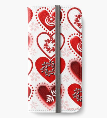 red heart pattern (154 Views) iPhone Wallet