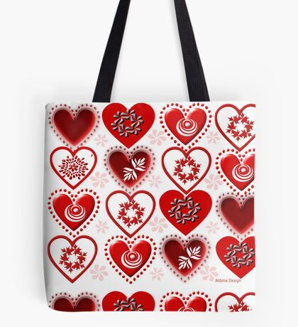 red heart pattern (154 Views) Tote Bag
