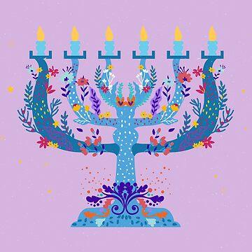 floral menorah hanukkah by gossiprag