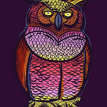 Fun Colorful Owl Drawing by SleeplessLady